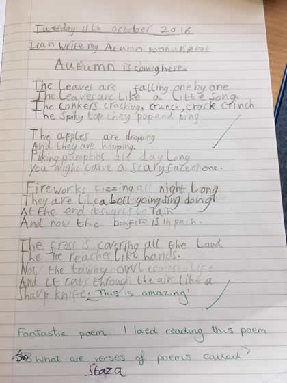Autumn is Coming Here, a poem by Josh aged 7