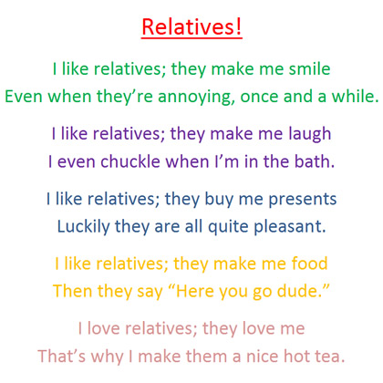 A poem about relatives by Gregory, aged 10