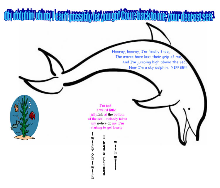 A shape poem featuring a dolphin and a jelly fish
