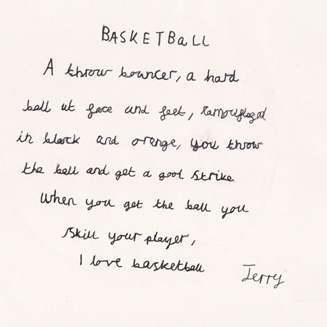 Basketball shape poem