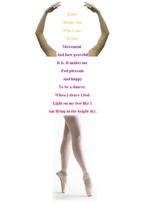 A shape poem in the shape of a ballet dancer which combines poetry and photographic elements.