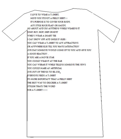 A shape poem in the form of a t-shirt.