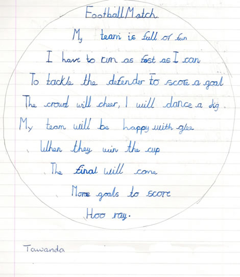 Football shape poem