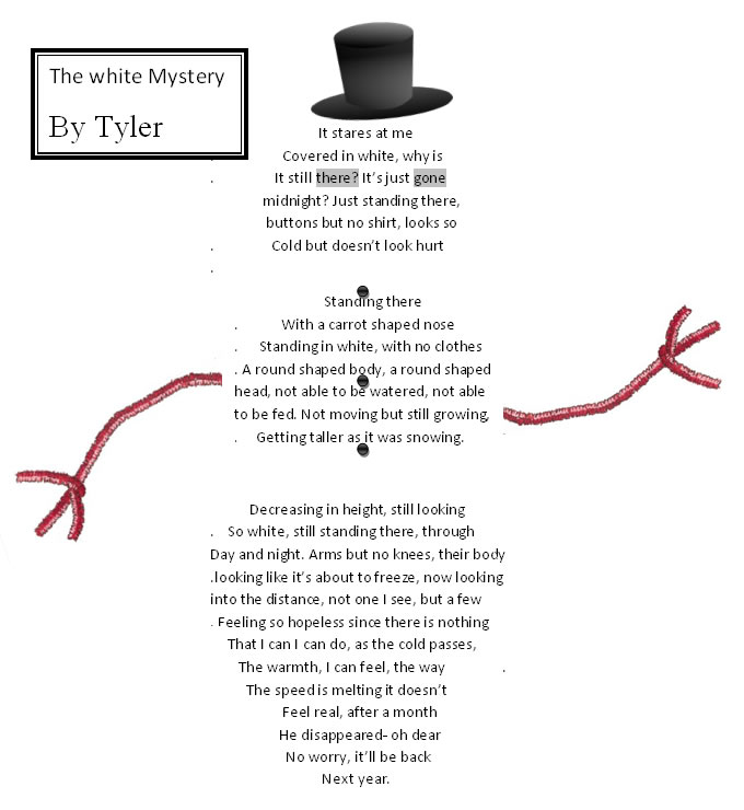 The White Mystery - A Snowman Shape Poem by Tyler