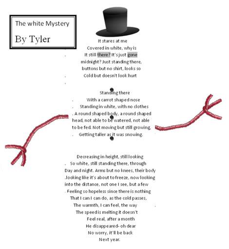 Snowman Poems For Kids Snowman shape poem