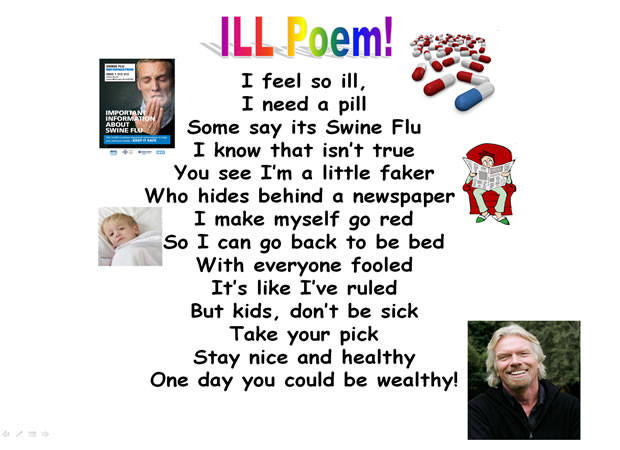 funny poems for friends. A collage poem about being ill
